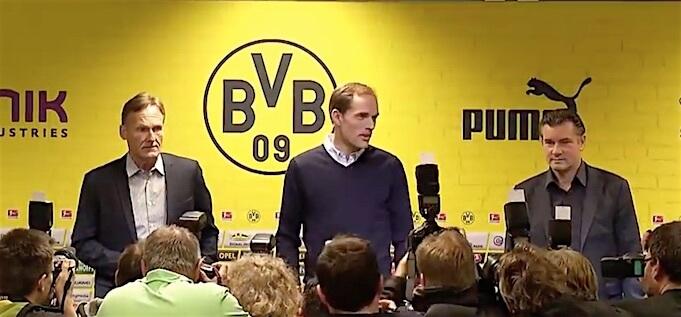 Watzke, Zorn und Tuchel wollen zusammen die Mannschaft der Zukunft formen. (Screenshot:YouTube/Borussia Dortmund)